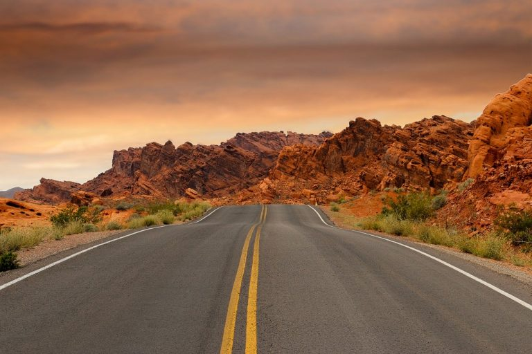 road, red rocks, rock formations